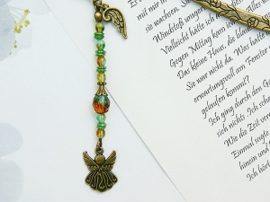 Lesezeichen Engel Flügel Engelsflügel bronzefarben Vintagestil braun grün - Handarbeit kaufen
