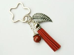 Schlüsselanhänger Taschenanhänger großes Blatt Jaspis Edelstein Quaste rotbraun