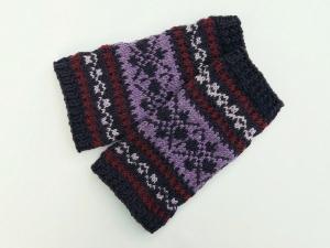 Armstulpen weinrot aubergine violett flieder Wollemischung handgestrickt Norweger Muster - Handarbeit kaufen