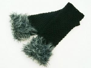 Armstulpen Pulswärmer schwarz und  Grautöne handgestrickt mit Kuschelrand Wollemischung - Handarbeit kaufen