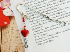 Lesezeichen groß Metall Herz Love Infinity Geschenk zum Valentinstag rot  - Handarbeit kaufen