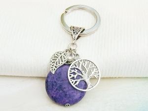Schlüsselanhänger Baum Lebensbaum Jade violett Edelstein Glücksbringer - Handarbeit kaufen