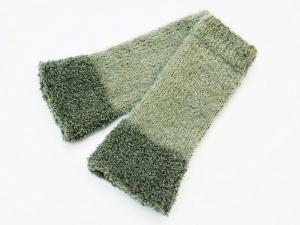 Armstulpen Pulswärmer grau Wollemischung handgestrickt   - Handarbeit kaufen