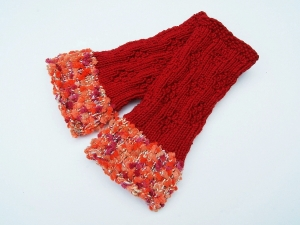 Armstulpen Pulswärmer rot orange handgestrickt ohne Wolle - Handarbeit kaufen