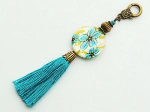 Schlüsselanhänger Taschenanhänger Perlmutt mit Blumen Quaste türkis Kettenanhänger bronzefarben - Handarbeit kaufen