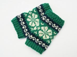 Armstulpen Pulswärmer smaragd dunkelblau natur handgestrickt Norwegermuster mit Blume - Handarbeit kaufen