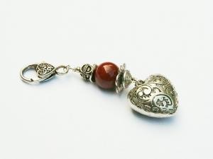 Anhänger Herz Edelstein Jaspis Kettenanhänger Schlüsselanhänger Taschenanhänger
