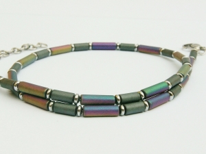 Halskette Hämatit bunte Röhrchen für Frauen und Männer