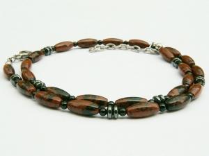 Halskette Mahagonieobsidian rotbraun schwarz Onyx und Hämatit für Frauen und Männer - Handarbeit kaufen