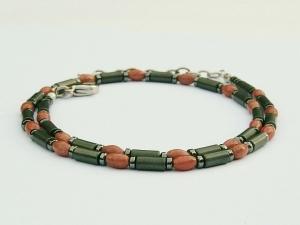 Halskette Rhodonit Oliven und Hämatit mattiert und glänzend für Frauen und Männer - Handarbeit kaufen