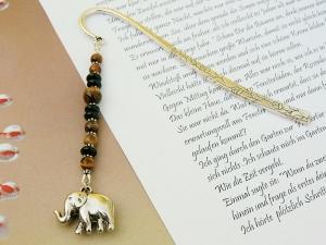 Lesezeichen groß Metall Elefant Edelstein Tigerauge Afrika - Handarbeit kaufen
