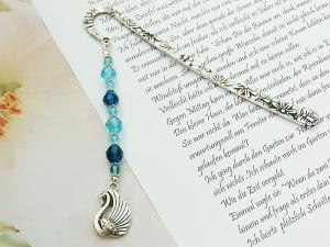 Lesezeichen groß Metall Schwan Glasschliffperlen Blautöne - Handarbeit kaufen