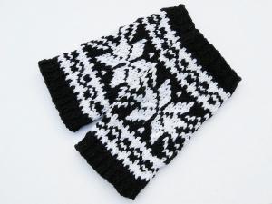 Armstulpen schwarz weiß Wollemischung handgestrickt Norweger mit Stern - Handarbeit kaufen