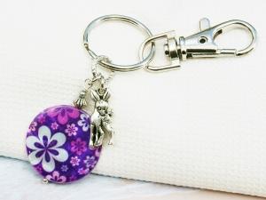 Schlüsselanhänger Rehkitz bunte Perlmutt Scheibe mit Blumen Taschenanhänger  - Handarbeit kaufen