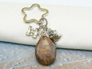Schlüsselanhänger wandern Rucksack Fernglas brauner Jaspistropfen
