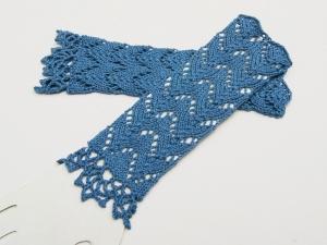 Armstulpen  blau Baumwolle handgestrickt Lochmuster filigran - Handarbeit kaufen