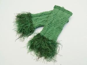 Armstulpen Pulswärmer Grüntöne  handgestrickt mit Kuschelrand - Handarbeit kaufen