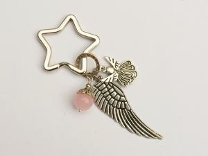 Schlüsselanhänger Glücksbringer Engel Flügel Rosenquarz - Handarbeit kaufen