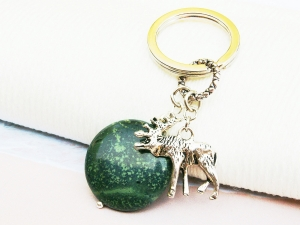 Schlüsselanhänger Elch Skandinavien Jaspis grün Edelstein - Handarbeit kaufen