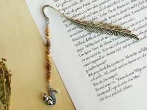 Lesezeichen Eichhörnchen Feder Landschaftsjaspis Edelstein braun - Handarbeit kaufen