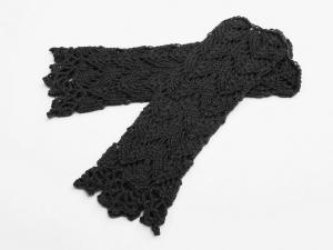 Armstulpen dunkelgrau weiche Wolle Mischgarn handgestrickt Lochmuster gehäkelter Spitzenrand - Handarbeit kaufen