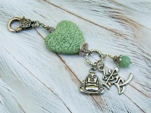 Anhänger Buddha Liebe Lava Herz grün Achat Edelstein Kettenanhänger Schlüsselanhänger Taschenanhänger - Handarbeit kaufen