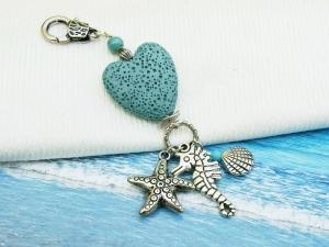 Anhänger Seepferd Muschel Seestern Lava Herz türkis Kettenanhänger Schlüsselanhänger Taschenanhänger - Handarbeit kaufen