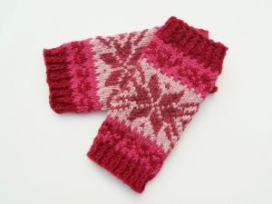 Armstulpen Rottöne weinrot pink altrosa Wolle und Alpaka Mischung handgestrickt Norweger - Handarbeit kaufen