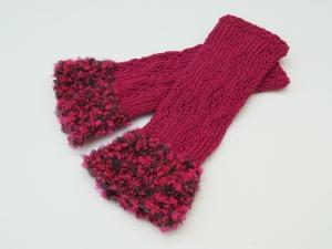 Armstulpen Pulswärmer Pink handgestrickt mit Kuschelrand  - Handarbeit kaufen