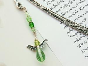 Lesezeichen groß Metall Engel Glasschliffperlen grün - Handarbeit kaufen