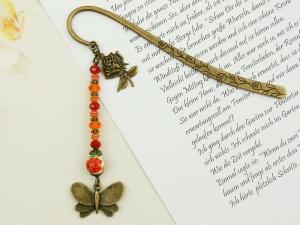 Lesezeichen Metall Schmetterling Blume Rose bronzefarben Vintagestil rot  - Handarbeit kaufen