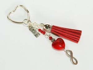 Schlüsselanhänger Herz rote Quaste Infinity Love - Handarbeit kaufen