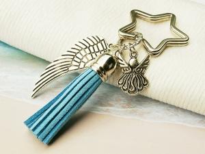 Schlüsselanhänger Taschenanhänger Glücksbringer Engel Flügel Quaste hellblau - Handarbeit kaufen