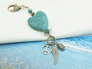 Anhänger Buddha Flügel Peace Lava Herz türkis Kettenanhänger Schlüsselanhänger Taschenanhänger  - Handarbeit kaufen