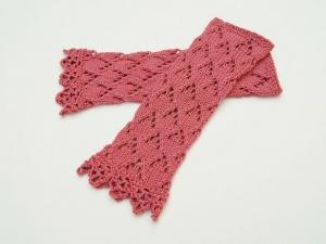 Armstulpen Pulswärmer antique pink Baumwolle handgestrickt Ajour Lochmuster  filigran Spitzenrand  - Handarbeit kaufen