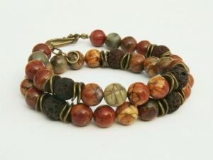 Halskette Picasso Jaspis Lava braun bronzefarben - Handarbeit kaufen