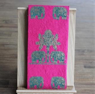 Handgeschöpfte indische Briefumschläge, ideal als besondere Verpackung für das  Geldgeschenk zu Hochzeiten, Geburtstage und weiteren Anlässen,Pink mit  Elefanten in grün+ goldfarbi