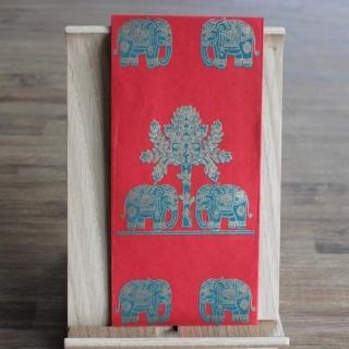 Handgeschöpfte indische Briefumschläge, ideal als besondere Verpackung für das Geldgeschenk zu Hochzeiten, Geburtstage und weiteren Anlässen, Rot mit  Elefanten in grün+ goldfarbig