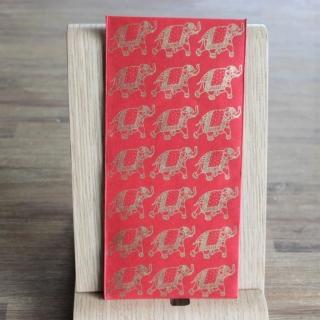 Handgeschöpfte indische Briefumschläge, ideal als besondere Verpackung für das  Geldgeschenk zu Hochzeiten, Geburtstage und weiteren Anlässen, Rot mit  Elefanten in goldfarbig