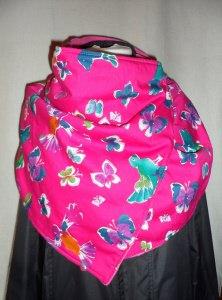 Wickelschal aus Baumwollstoff und Fleecestoff,pink,Schmetterlinge und Vögel,Handmade