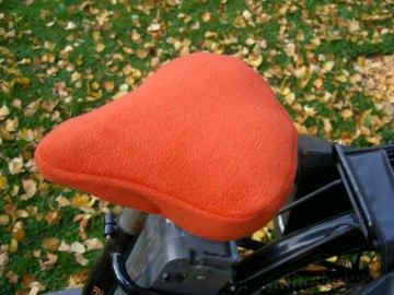 Fahrradsattelwärmer ♥ Fahrradsattelbezug ♥ terracotta-farbener Fleecestoff ♥ Handmade
