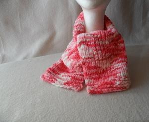 Kinderschal gestrickt, Farbverlauf rot-rosa-weiß