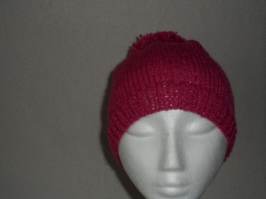 Bommelmütze, Mütze mit Bommel, gestrickt, Farbe: bordeaux, KU 50-54 cm - Handarbeit kaufen