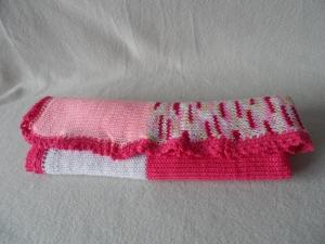 Babydecke, Wagendecke, Patchworkdecke, gestrickt,rot,weiß,rosa