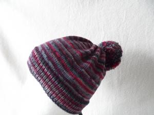 Kindermütze, Bommelmütze, Mütze, KU 44 - 46 cm, Farbverlauf bunt - Handarbeit kaufen