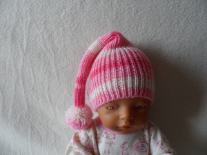 Zipfelmütze gestrickt, Puppenmütze, KU 30 - 33 cm, rosa-weiß - Handarbeit kaufen