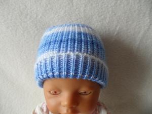 Puppenmütze, Strickmütze, Mütze, KU 32 - 34 cm, Farbverlauf blau - weiß
