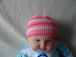 Babymütze, Strickmütze, Mütze, KU 36 - 38 cm, Farbverlauf rosa - weiß  - Handarbeit kaufen