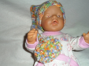 Zipfelmütze gestrickt, Puppenmütze, KU 30 - 33 cm, bunt - Handarbeit kaufen