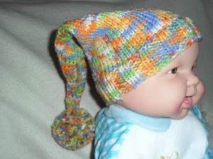 Zipfelmütze gestrickt, Babymütze, Kindermütze, KU 42 - 44 cm, bunt  - Handarbeit kaufen